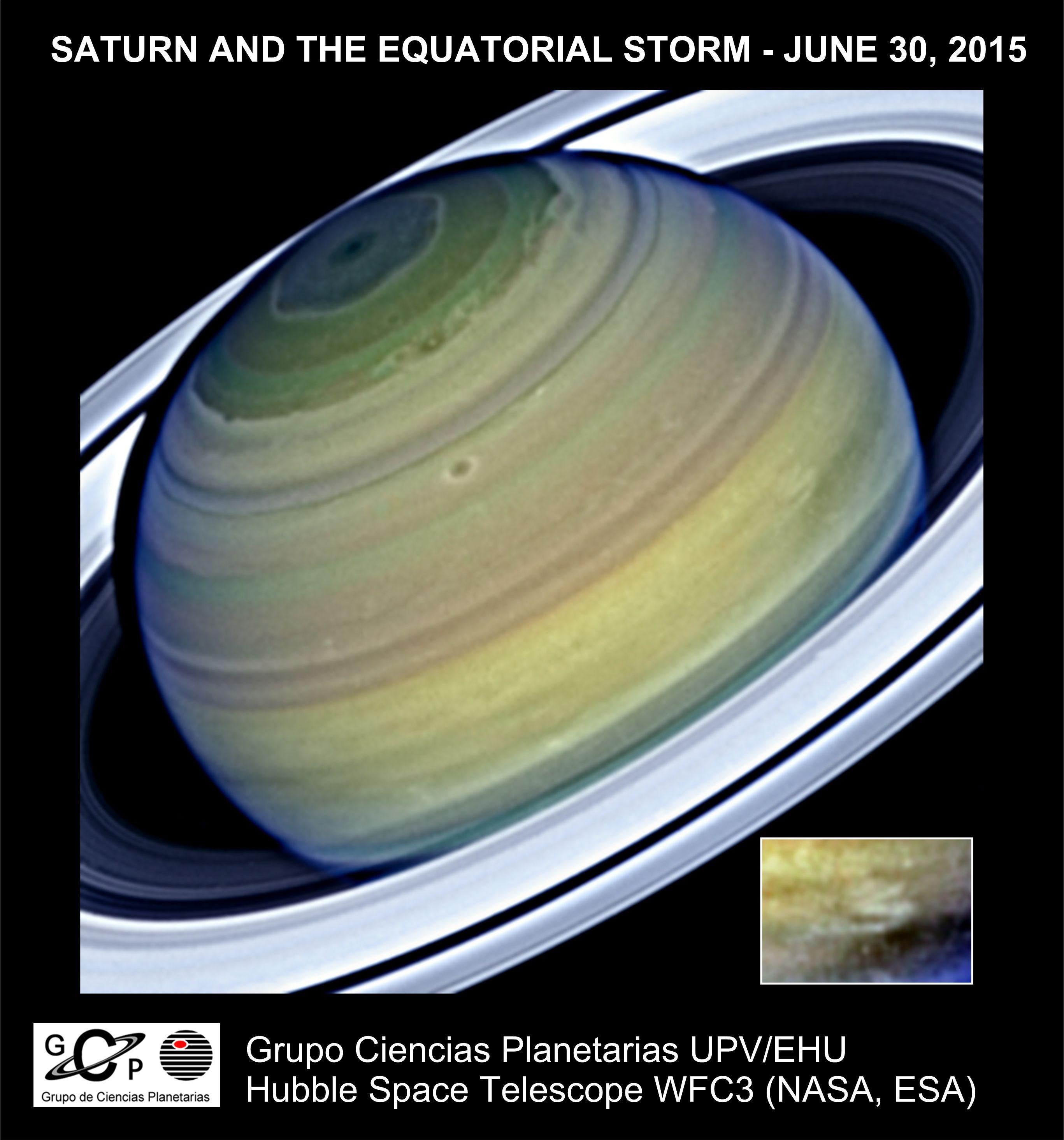 Saturno visto por el Telescopio Espacial Hubble en Junio de 2015. El detalle muestra la estructura rápida que alcanzó valores de la era Voyager. Crédito: GCP-UPV/EHU
